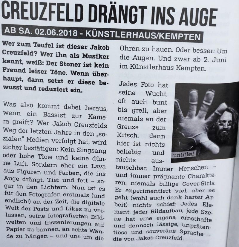 creuzfeld drängt ins auge